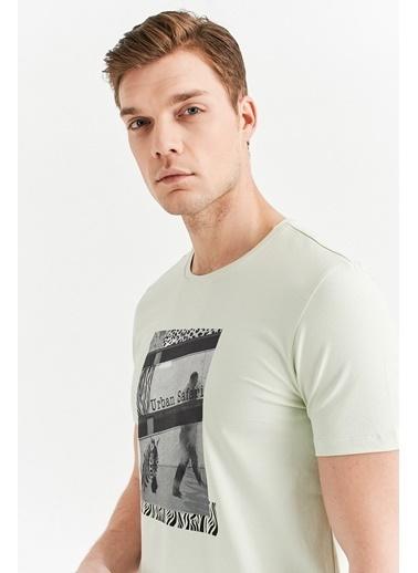 Avva Erkek  Bisiklet Yaka Baskılı Tişört A01Y1021 Yeşil